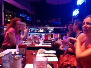 At the Wonkomance Karaoke meet up: Jackie Horne (Romance Novels for Feminists), Del Dryden, Ruthie Knox, Sarah Frantz (Riptide Editor), & Cara McKenna. Pretty sure Cara has just heard the karaoke machine calling her name.