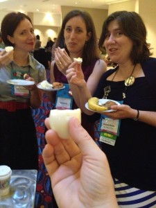 Eating hard-boiled eggs at breakfast: Cara McKenna, Serena Bell, Ruthie Knox, & Del Dryden's hand.